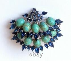 RARE! Vintage 60's Christian Dior Turquoise & Blue Rhinestone Pin Brooch