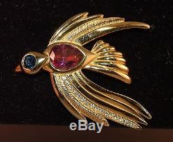 RARE Vintage Christian Dior Figural Gold Plated Bord Brooch! Large & FABULOUS