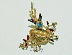 RARE Vintage Crown Trifari Sterling Rhinestone Brooch Bird on Nest Golden Pearls