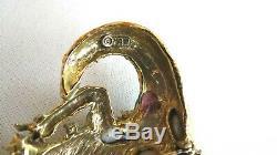 RARE Vintage HAR Signed Fantasy Dragon BroochPin Green Jewels Enamel