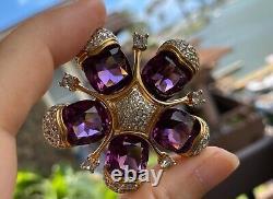 RARE Vintage Jomaz Brooch with Amethyst Crystal and Pave Rhinestones