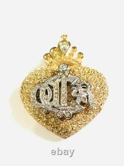 RARE Vintage Signed CHRISTIAN DIOR LOGO Rhinestone Heart & Crown Brooch Pin