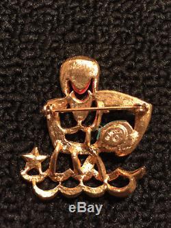 RARE Vintage Signed DeNicola Aquarius Zodiac Astrology Rhinestone Brooch Pin