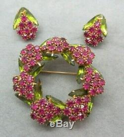 RARE Vintage Verified D&E JULIANA Pink Green Rhinestone Brooch Earrings Set