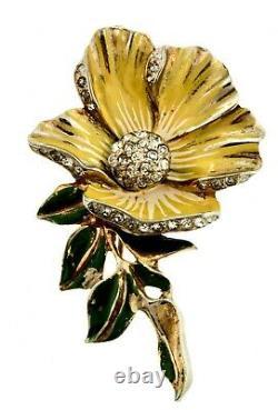 RARE Vtg 1940s Deja Enamel Rhinestone FLOWER Figural Brooch Pin Fur Clip