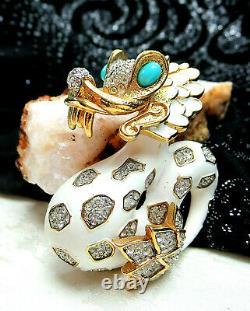 RARE Vtg Joseph Mazer JOMAZ Signed Rhinestone White Enamel Asian Dragon Brooch