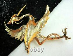 RARE Vtg MARCEL BOUCHER Rhinestone Enamel Gold Plated HERON Bird Brooch 4 TALL
