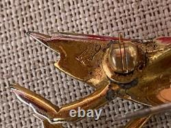 RARE vintage 1941 MARCEL BOUCHER enamel figural insect PRAYING MANTIS Brooch