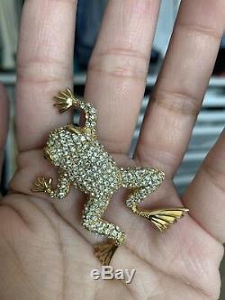 RARE vintage CHRISTIAN Dior Germany Frog Brooch Pin Rhinestone Crystal Mint Cond