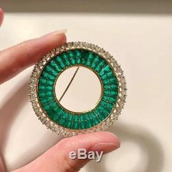 RAREVintage Trifari Invisibly Set Emerald Green Rhinestone Circle Brooch Pin