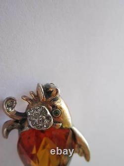 REJA Vintage Sterling/Gold-Wash Fish Brooch with Faceted Topaz Rhinestone Belly