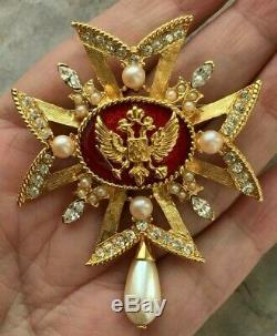 RESERVED! Regal Crest Heraldic red enamel Maltese cross pave vintage BROOCH PIN