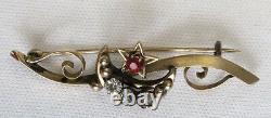 Rare Antique 1800s Victorian gold brooch pin moon and star with Rhinestones