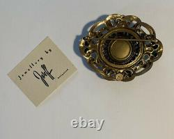 Rare Joseff of Hollywood Brooch PIN Green Emerald Gold Vintage Costume