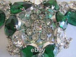 Rare Large Vintage Schreiner New York Colorful Brooch And Earring Set