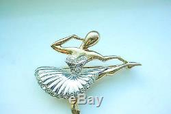 Rare Marcel Boucher Vintage MB Ballet Of Jewels Ballerina Figural Brooch 18 Kt