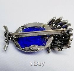 Rare Schreiner NY Signed Blue Green Pink Prong Set Hi Domed Brooch Pin Vintage