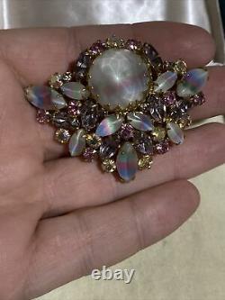 Rare Signed Hattie Carnegie Rhinestone Set Brooch Earrings Vintage Costume