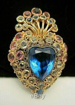 Rare Signed Hobe' Vintage 2-1/2 Sterling Openback Rhinestone Heart Brooch M2