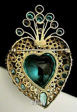 Rare Signed Hobe' Vintage 3 Sterling Openback Blue Glass Heart Brooch Pin M3