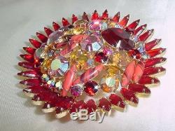 Rare Stunning Vintage Verified Juliana D&e Rhinestone 3 Flower Brooch Pin#1755