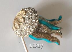 Rare VTG KENNETH J LANE KJL jellyfish COUTURE BROOCH PIN enameled Rhinestone