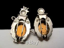 Rare Vintage 1-3/4 Coro Enamel Rhinestone Mr & Mrs Penguin Fur Dress Clips A15