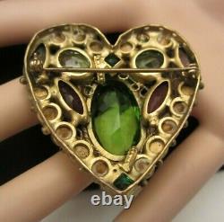 Rare Vintage 2-1/4 Unsigned Hobe' Gilt Openback Rhinestone Heart Brooch Pin M9
