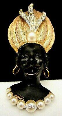 Rare Vintage 2-3/4 Signed HAR Blackamoor African Princess Face Genie Brooch A71