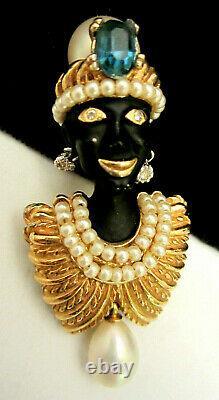 Rare Vintage 2 Signed Ciner Goldtone Jeweled Blackamoor Genie Brooch Pin A44