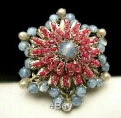Rare Vintage 2 Signed Miriam Haskell Blue Pink Glass Rhinestone Brooch Pin A23