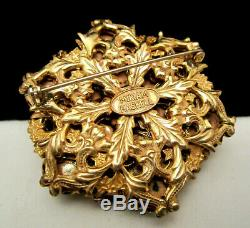 Rare Vintage 2 Signed Miriam Haskell Goldtone Ornate Ruby Red Glass Brooch A12