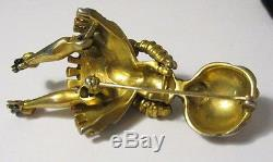 Rare Vintage Blackamoor Brooch Pin Figural Articulated Arms Legs AMAZING 1940's