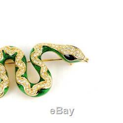 Rare Vintage Christian Dior Rhinestone & Enamel Snake Brooch