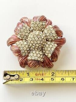Rare Vintage Ciner Flower Brooch Large Layered Rhinestone & Enamel Must See