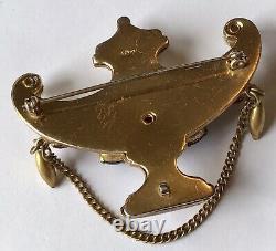 Rare Vintage Coro Adolph Katz Jeweled Alladin's Lamp Pin Brooch Book Piece 1940