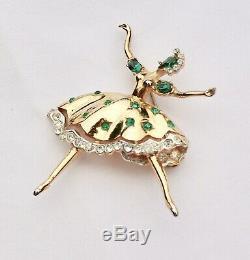 Rare Vintage Coro Craft Dancing Ballerina Rhinestone Brooch Pin