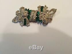 Rare Vintage Coro Duette Green & Clear Rhinestone Fur Clip Pin Brooch