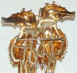 Rare Vintage Coro Duette Seahorse Emerald Rhinestone Pin Brooch Excellent