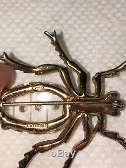 Rare Vintage Coro Sterling Silver Rhinestone Lucite Jelly Belly Spider Brooch