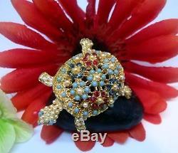 Rare Vintage Estate Designer Flower Bead Rs Ciner Turtle Brooch Pin Antique