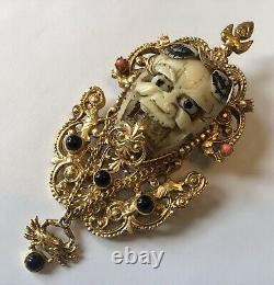 Rare Vintage Florenza Noh Smiling Devil Face Mask And Rhinestone Brooch