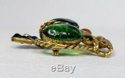 Rare Vintage Gripoix Hattie Carnegie Poured Glass Large 2.25 Crown Brooch