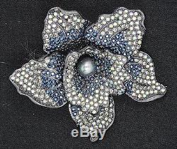 Rare Vintage Joan Rivers Elegance In Bloom Pave Orchid Pin Brooch 3