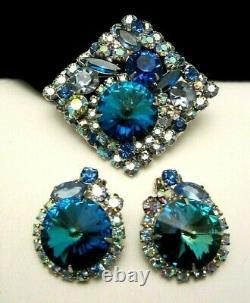 Rare Vintage Juliana D&E Blue Green Rivoli AB Rhinestone Brooch & Earring Set M3