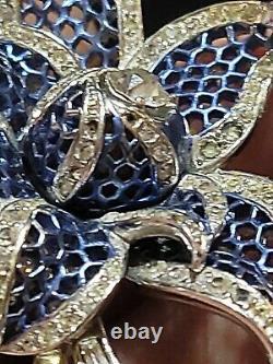 Rare Vintage Marcel Boucher Rhodium Plate Enamel Rhinestone Flower Brooch