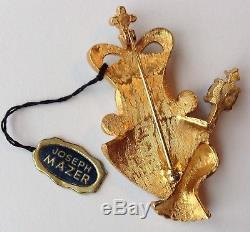 Rare Vintage Mazer Signed Blue & Green Rhinestone Coronation Sceptor King Brooch