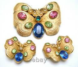 Rare Vintage Napier Pat Pend Rhinestone Butterfly Brooch Earring Set Matte GT