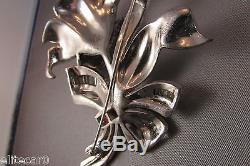 Rare Vintage Pave Rhinestone Flower Brooch Rhodium Invisible Set 3-D 1940s Dujay