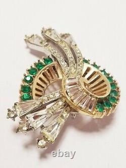 Rare Vintage Rhinestone Unsigned Amazing Boucher Glass Brooch Pin